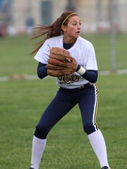 Greencastle-Antrim's Liz Ward looks to make a play against Shippensburg on Thursday. The Blue Devils won, 11-10.