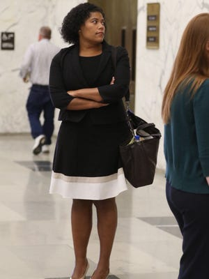 City Court Judge Leticia Astacio waits in the Hall of Justice downtown on Thursday, June 2, 2016.