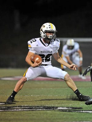 Tuscola's Bailee Ewart, duing their game agsainst Asheville. Asheville defeted Tuscola 30-16. MIKE RICE/Citizen-Times