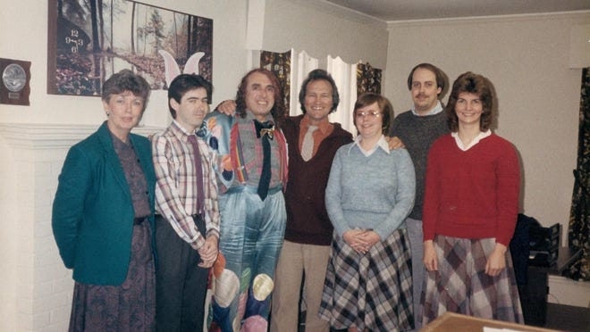 Tiny Tim, third from left, with staff of WBRM radio in Marion, circa 1986)