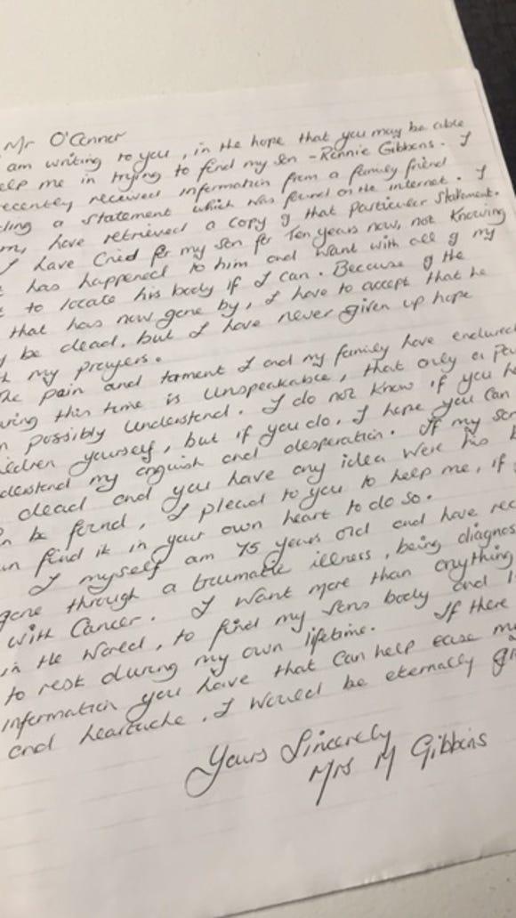 Rita Gibbons writes to jailed killer.