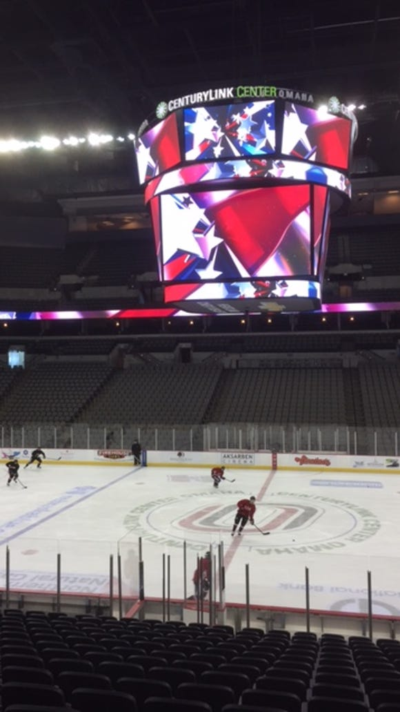 St. Cloud State during its Friday skate at the CenturyLink Center in Omaha, Neb.