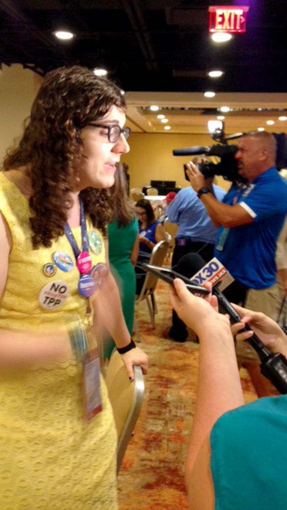 Transgender Florida delegate Monica DePaul speaks to