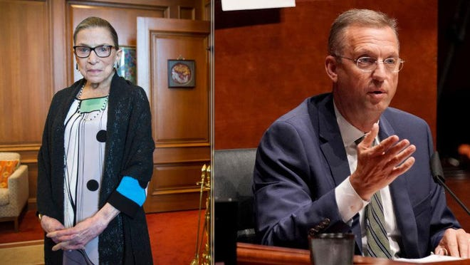 Rep. Doug Collins, R-Ga., right, received backlash for his tweet criticizing the pro-choice stance of Ruth Bader Ginsburg, left, who died Friday.