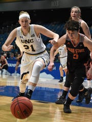 Northern Colorado's Abby Kain, left, and Idaho State's