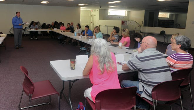 Kevin Norman talks to a group about marketing ideas for a Drug Free Clubs of America in Ross County on June 6 at the Chillicothe and Ross County Public Library Annex.