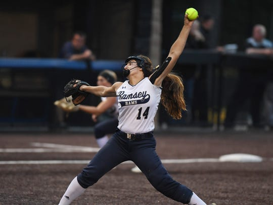 Ramsey vs Hanover Park in the Group 2 softball semifinals at Seton Hall University on Thursday, May 31, 2018. R pitcher #14 Victoria Sebastian.