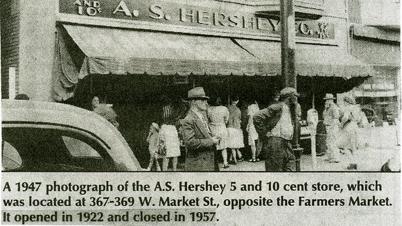 Don Goodling shared this newspaper clipping showing the A.S. Hershey Co. 5-and-10 store, where his mother worked in the 1950s.