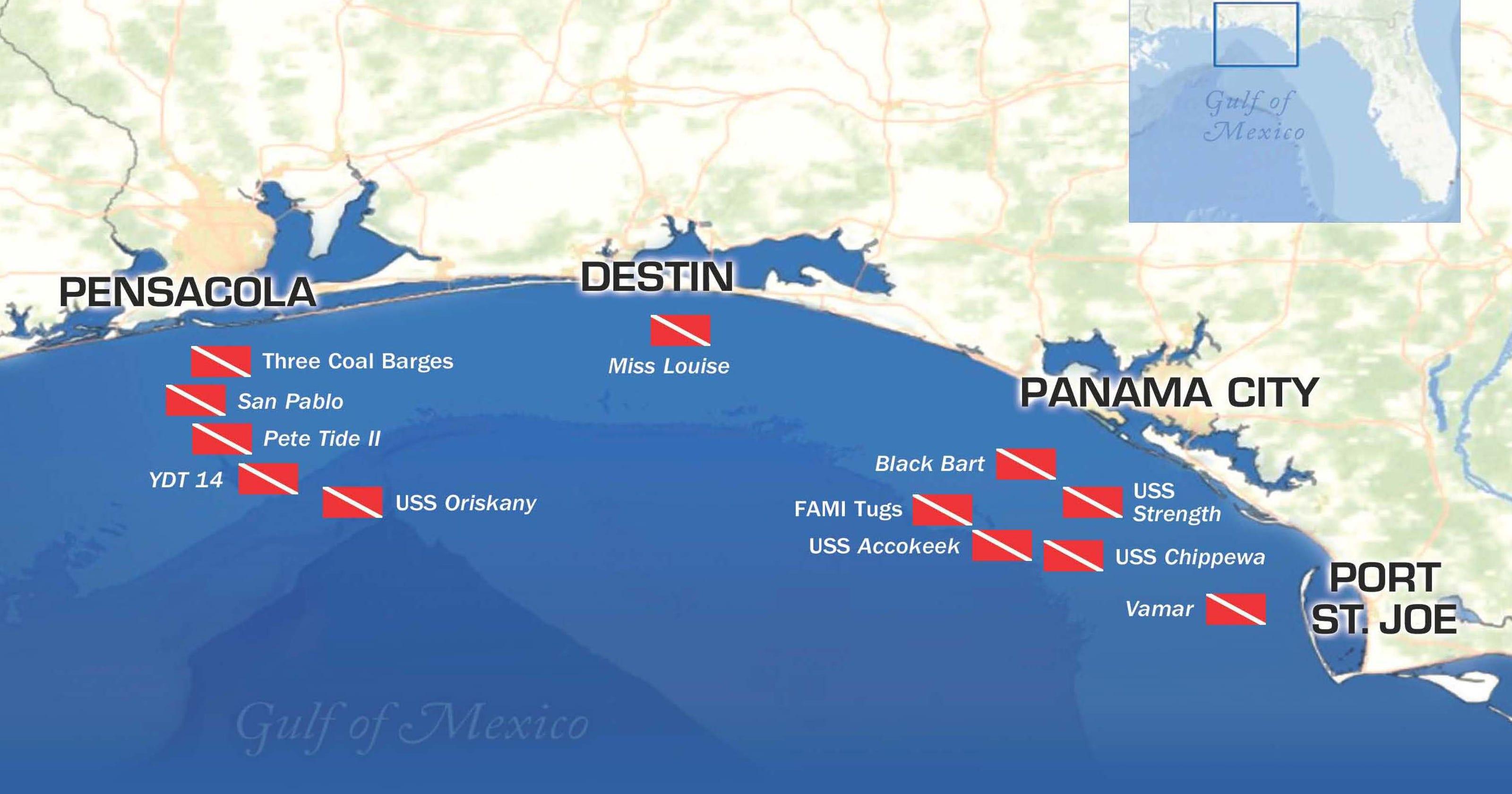 Show Map Of Florida Panhandle.Florida Panhandle Shipwreck Trail Beckons Divers
