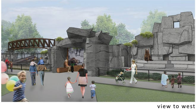 A drawing of the western view of the new grizzly bear exhibit coming to Wildwood Zoo, which should be completed by the end of October.