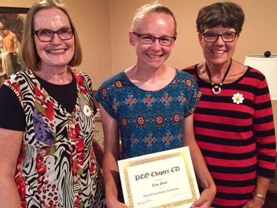 Emily Shedal, center, of Mishicot, was recipient of