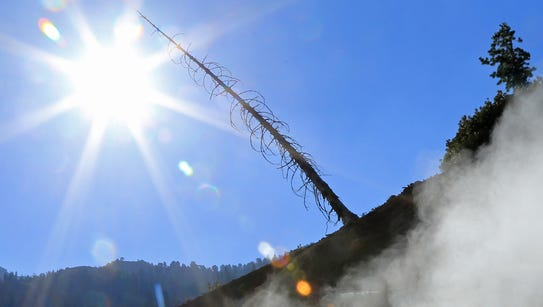 Steam rises from the Sulphur Works at Lassen Volcanic