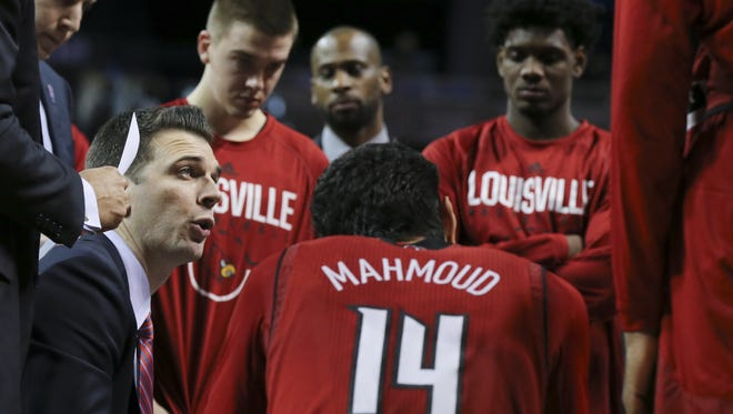 U of L head coach David Padgett rallied his troops to repel a second half run by FSU during the ACC Tournament in Brooklyn, NY.    Mar. 7, 2018