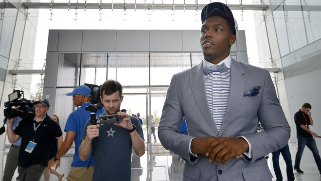 "Vidauntae ""Taco"" Charlton, the Dallas Cowboys' first-round selection, 28th overall, arrives at Ford Center at The Star in Frisco, Texas, on Friday, April 28, 2017."