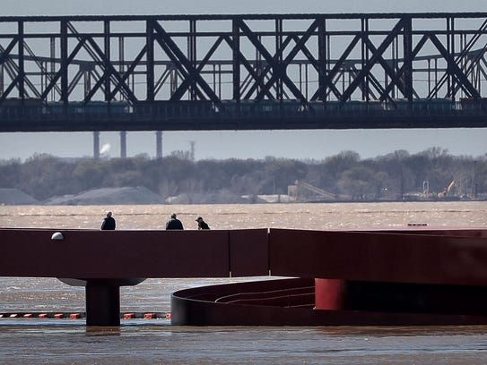 Rising water from the Mississippi has all but covered