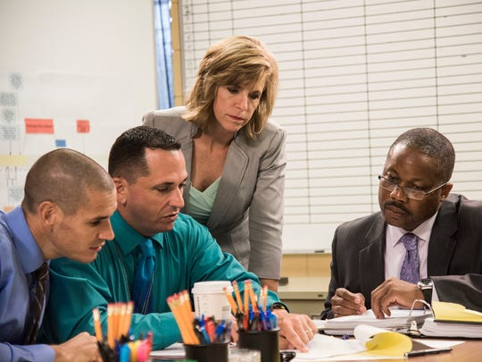 """Kelly Siegler and Greg Pinkins, of TNT's """"Cold Justice,"""" work with Detective Sgt. Brian O'Reilly and Detective Albert Antonini from the Fort Myers Police Department to solve the 22-year-old cold case of Mattie Lee Henry in season 3, episode 318. Photo by Melissa Lyttle and provided by TNT's """"Cold Justice."""""""