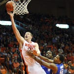 UTEP's Cedrick Lang scores against Memphis during their Conference USA game at the Don Haskins Center in Memphis.