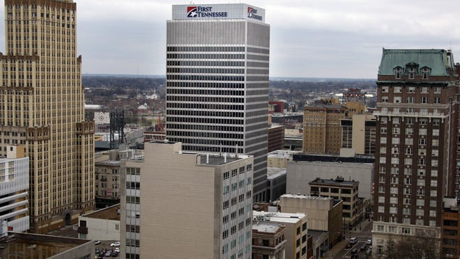 Head offices of First Horizon National and its First Tennessee Bank fill most of this tower in Downtown Memphis. (Nikki Boertman/ The Commercial Appeal)
