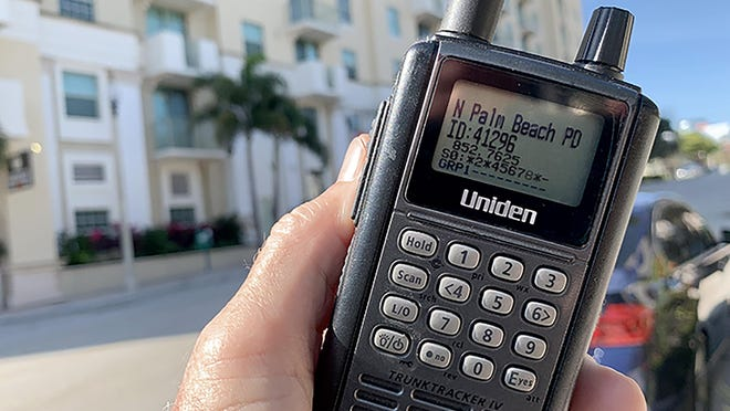 A portable police scanner.