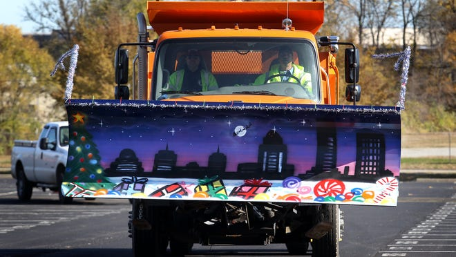 A snow plow blade, painted by Tommy Frazor one of the Public Works crew. November 10, 2014