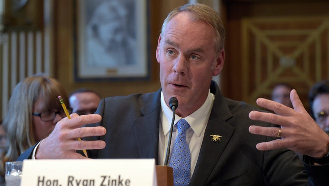 Interior Secretary Ryan Zinke testifies on Capitol Hill in Washington, Wednesday, March 8, 2017, before the Senate Indian Affairs Committee hearing on priorities for the Trump administration.