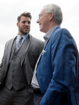 Detroit Lions president Rod Wood, right, talks with first-round draft pick Taylor Decker at the team's practice facility April 29, 2016, in Allen Park.