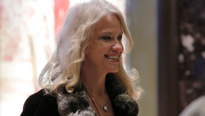 Kellyanne Conway arrives at Trump Tower on Dec. 8, 2016, in New York.