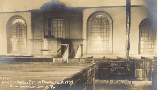A historic photograph by Shippensburg postcard photographer Charles Laughlin shows the interior of Rocky Spring Presbyterian Church