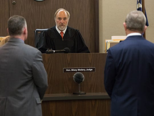 Judge Guy Williams appears in front of Judge Sid Harle of Bexar County for his hearing after being charged with two counts of aggravated assault with a deadly weapon on Friday, Nov. 3, 3017.