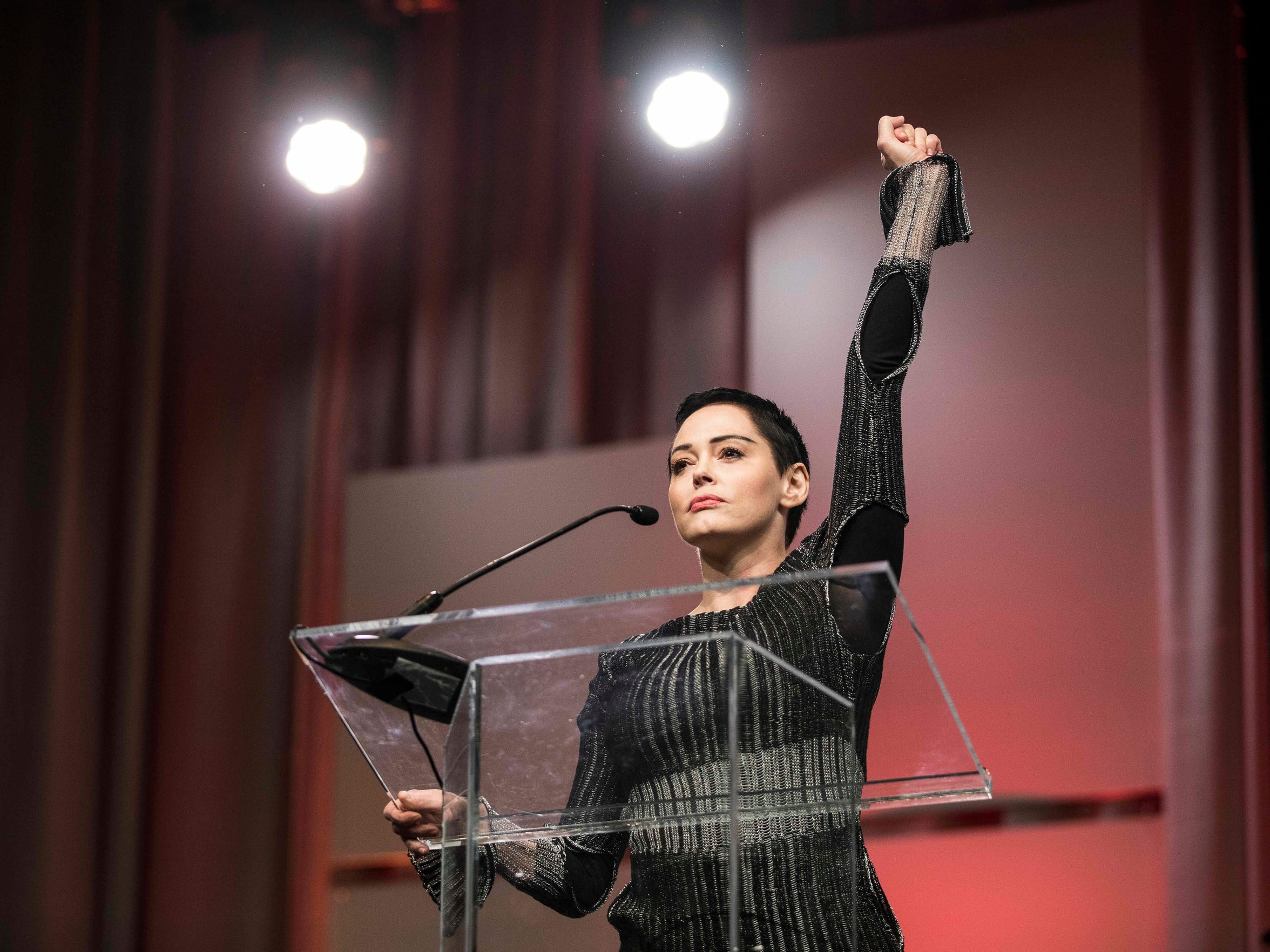"""We are all Me Toos. I have been silenced for 20 years,"" Rose McGowan shouted, fist raised, in a fiery speech at the Women's Convention in Detroit. ""I have been slut-shamed. I've been harassed. I've been maligned … We are one massive collective voice, that is what #RoseArmy is all about."""
