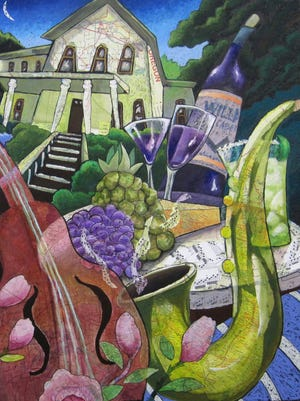 """""""Party in the Park"""" by Liz Collins is the official poster art for the 2016 Salem Art Fair & Festival. The piece features the Bush House Museum. Collins is a mixed-media artist from Nevada City, California, who has participated in the fair more than 20 times."""