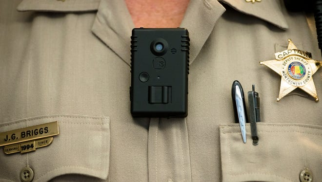 Maj. J.G. Briggs wears a body camera on Wednesday, July 22, 2015. The camera's  be fitted to the Montgomery Sheriff's departments vests.Briggs said they currently have 80 camera's and will be in service in the next few weeks.