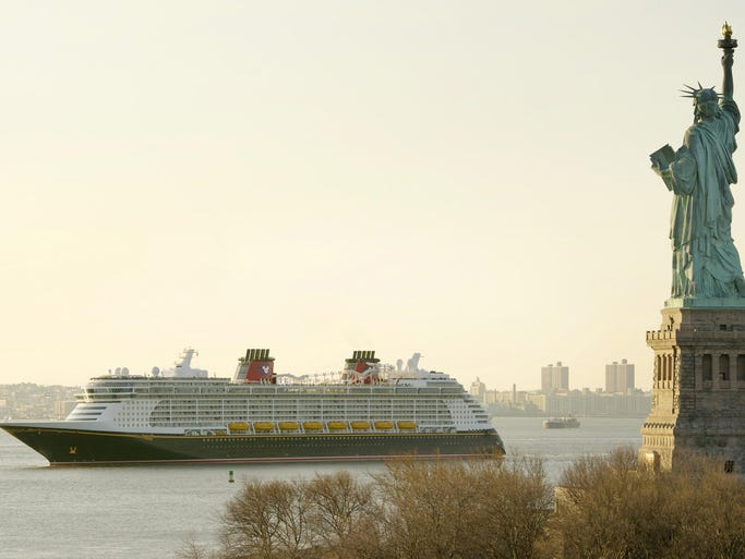 The Disney Cruise Line's newest ship, Disney Fantasy, arrived in New York on Feb. 28, 2012 after sailing across the Atlantic Ocean from Germany, where it was built.