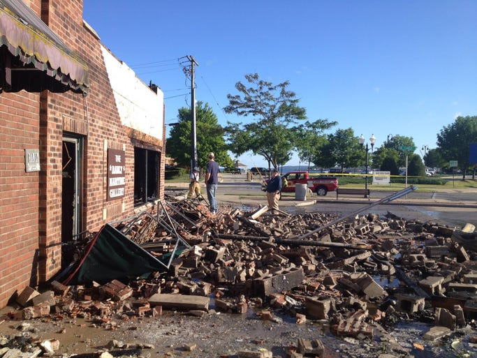 The Harbor Place Shoppes in downtown Sturgeon Bay were destroyed by fire July 1, 2014.