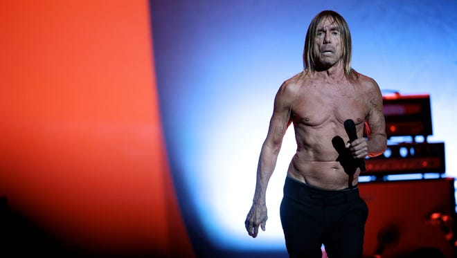 Iggy Pop performs at the Fox Theatre on Thursday, April 7, 2016, in Detroit.