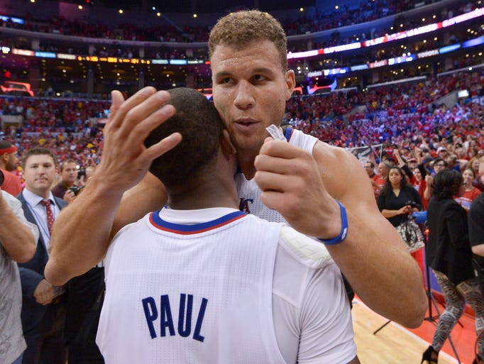 Game 7 in Los Angeles -- Clippers 126, Warriors 121: Blake Griffin and Chris Paul celebrate the Clippers' win.