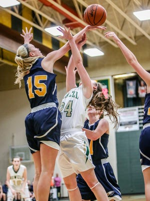 Hartland's Whitney Sollom (15) begins her sophomore basketball season this week with games against Linden and Fenton.