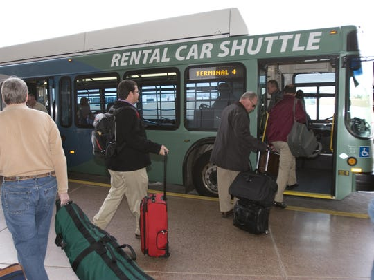 It's a 2-mile shuttle ride from Sky Harbor Airport to the Rental Car Center.
