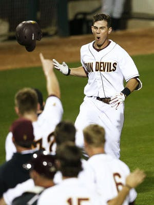 Colby Woodmansee (shown from Feb. 13 game) hit a three-run homer in the first inning Friday helping ASU baseball to a win at USC.
