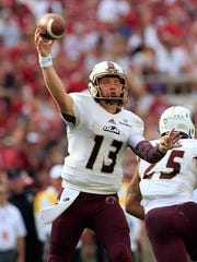 Sophomore QB Garrett Smith (13) showed flashes of potential last year during his first season as the starter at ULM.