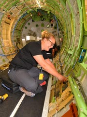 Lindsey Leserra, an avionics technician with Embraer,