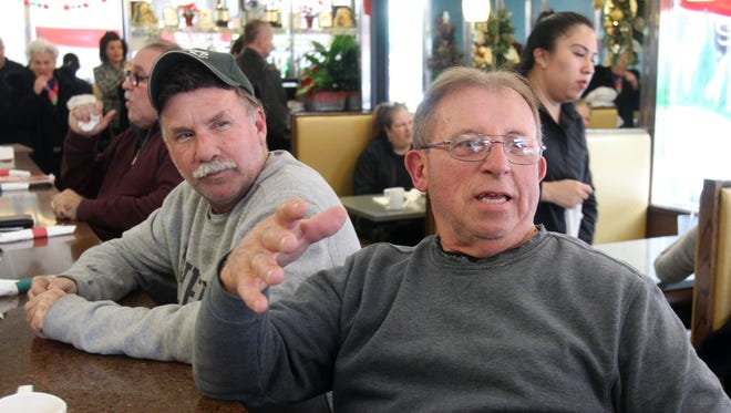 From left, Rocco Massero of West Harrison and Frank Papalio of North White Plains, talk about their hopes for the year 2017 while in the Townhouse diner in North White Plains Dec. 28, 2016.