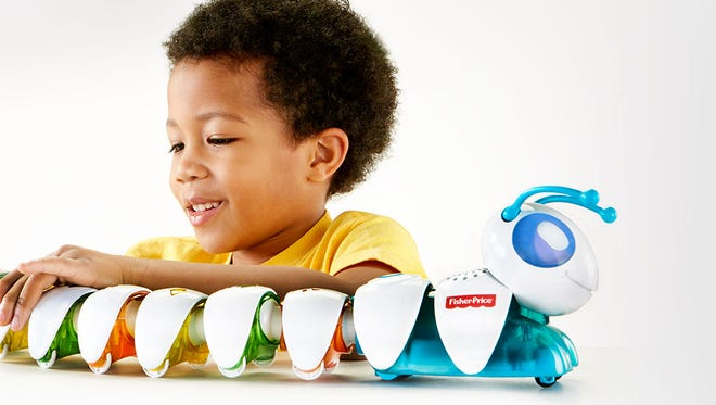 This Fisher-Price smart toy is a colorful caterpillar with removable, swappable segments. l