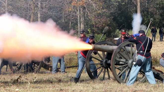 A Union cannon fires during a re-enactment of the battle at Shy's Hill, part of the two-day fight for Nashville 150 years ago, Saturday at the Wade House Historic Site in Greenbush.