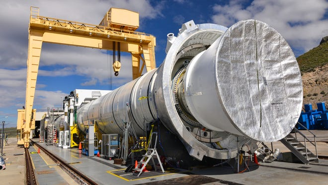 A test version of the booster for NASA's new rocket, the Space Launch System, will fire up for the second of two qualification ground tests at 10:05 a.m. EDT Tuesday, June 28 at prime contractor Orbital ATK's test facility in Promontory, Utah.