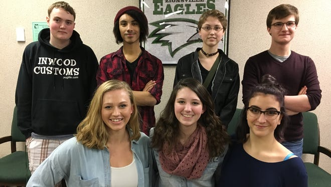 Zionsville High School seniors (front row from left) Gretta DeCoursey, McKenna Burke and Zoe Craft and (back row) Javan Christenberry, Kelvin Campbell, Lauren Cannon and Doug Mullinax won best in state in Verizon's Innovative Learning App Challenge.