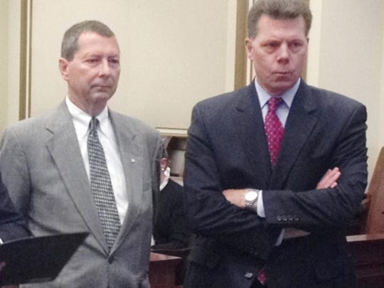 Mason lawmaker Peter Beck, left, with his attorney Ralph Kohnen in court Thursday.