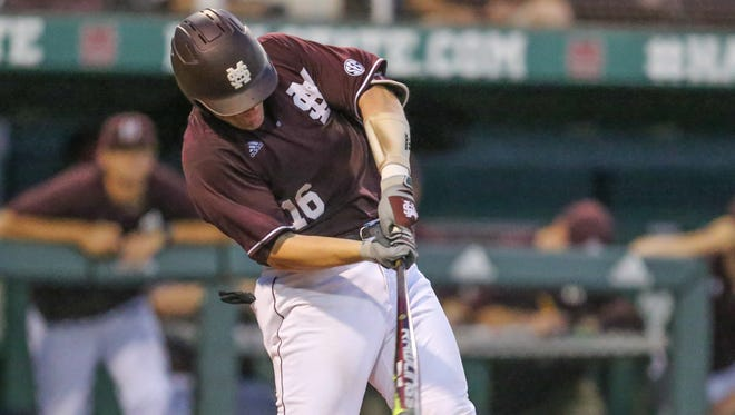 Mississippi State's Josh Lovelady (16) is injured when he hits the ball off of his foot. Mississippi State and Auburn played in an SEC baseball game at Dudy Noble Field in Starkville on Friday, April 28, 2017. Photo by Keith Warren/Mandatory Credit