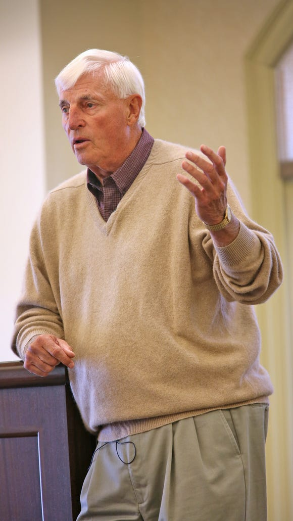 Bob Knight speaks at The Barrington of Carmel, a retirement