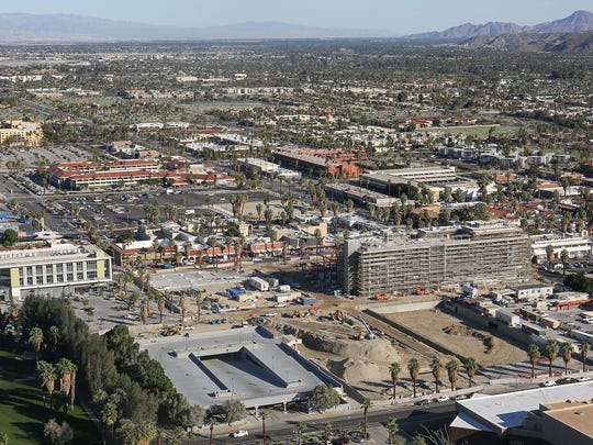 Construction continues on the downtown revitalization project in Palm Springs, February 14, 2017.
